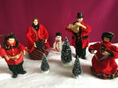 4-piece Charles Dickens Christmas choir, snowman and 3 pine trees