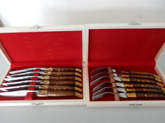 """LAGUIOLE BOUGNA"" 2 beautiful wooden cases - 6 table knives - 6 table forks - Rosewood handles with golden brass inlays - France"