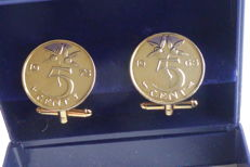 """Pair of cufflinks made of Dutch """"Stuivers"""" (5-cent coins), gold plated, from 1965 and 1975"""