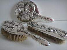 Antique three piece silver toiletries by Chinese Export Silver: Wang Hing / China 1854-1925