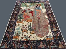 Incredible pictorial Tabriz carpet - Iran - 210 x 140 cm - Beginning of 20th century