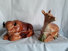 Michel Caugant - large paté dishes - rare - bull and deer