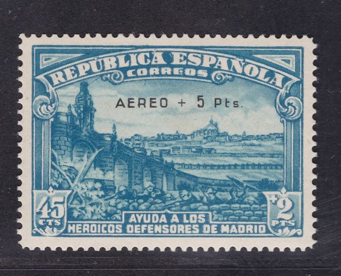 Spain 1938 - Aerial Defence of Madrid + 5 pesetas - Edifil 759