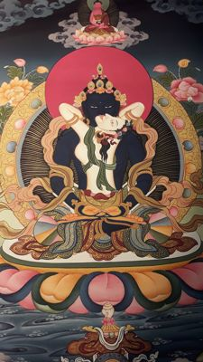 Thangka depicting VAJRADHARA meditating - Nepal - Second half of the 20th century