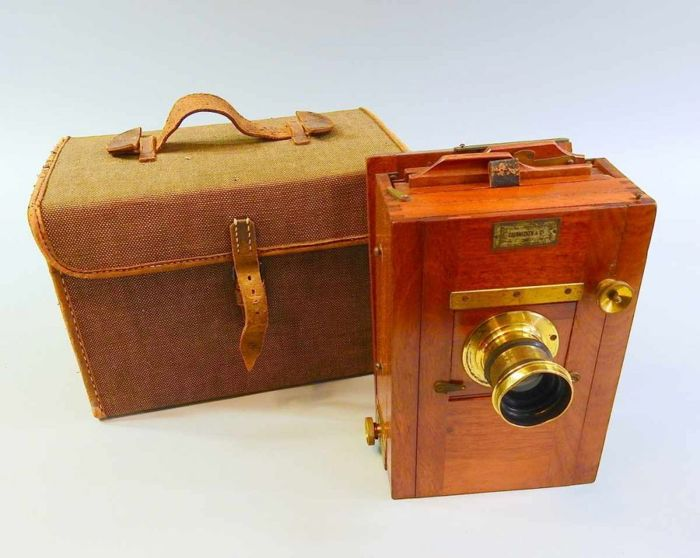 antique tropical plate camera company Soennecken & Co. Munich, in original case approx. 1890