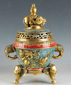 Cloisonne incense burner (marked) – China – second half of 20th century (30 cm)