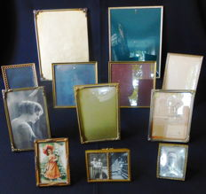 Lot of twelve antique and old photo frames - small and large - convex glass