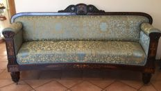 Walnut sofa with inlays. Charles X, French, c. 1825