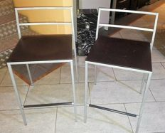 Calligaris - 2 stools in steel with seat in beech wood