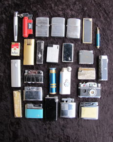LOT: 27 old gas lighters - 1960 / 1985 - Metal (including 2 on petrol)
