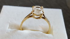 18 kt / 750 yellow gold engagement ring set with a white quartz – size 50