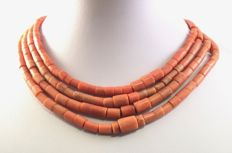 Antique precious coral necklace of four strands (264 cm in total) without a clasp