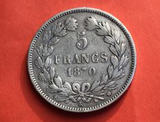 France - 5 Francs 1870 K 'Cérès' (no legend and M in the star at 2 o'clock) - silver