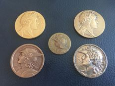 France - Collection of five medals, 1955/1960 - Bronze