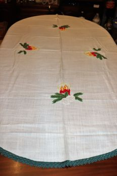 Beautiful Christmas tablecloth in cotton with colour embroidery