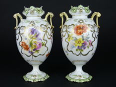Antique porcelain pair of Rococo style commode vases
