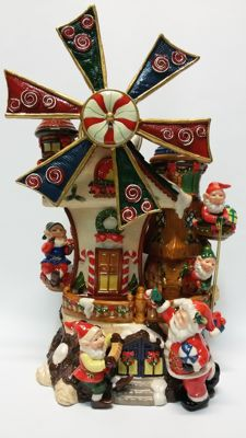 Ceramic mill, Santa Claus home, music box Made in italy