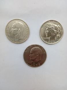 Venezuela and United States of America – Lot of 3 coins 1911/1972