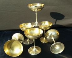 Set of 6 Empire-style dessert cups - France, c. 1940