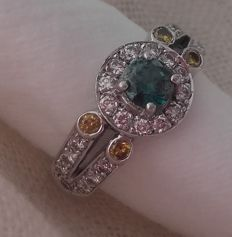 12 kt white gold ring, Top Quality, Diamonds of 1.18 ct in total - no reserve