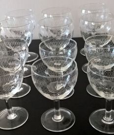 12 antique blown glass stem glasses, slightly faceted with pantograph decorations, perfect