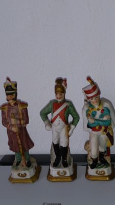 Three original Napoleon biscuit porcelain figures of the legion