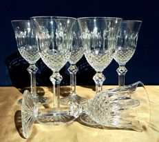 Set of 6 cut and hand worked crystal Baccarat glasses, model: Libourne - France, c. 1880/1920
