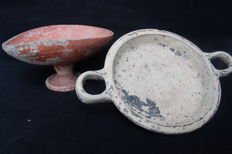 Cypriot Pottery Kylix and Stemmed Cup - 125 mm / 45 mm (2)