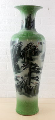 Large Porcelain Celadon vase with floral decors - China - 2nd half of the 20th century