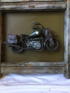 Tin 3 D motorcycle in frame