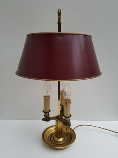 Bouillotte lamp with dark-red painted metal shade - ca. 1930