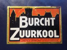 Metal advertising sign Burcht Zuurkool - ca. 1920