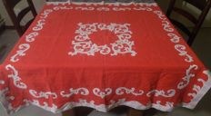 Red / white hand embroidered tablecloth.