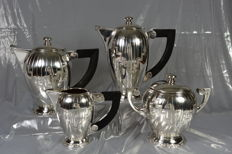 Silver plated tea and coffee serving set, France, circa 1920, Art Deco