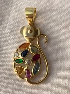 Pendant in 750/1000 yellow gold with stones.