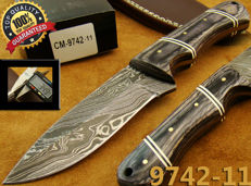 Handmade Damascus Steel Hunting Knife - Skinning Tracking Knife - Handmade - 21.5 CM Long - 374 Damas Layers- Leather Sheath