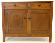 Art deco style oak dresser with Carrara marble top, Netherlands, circa 1920