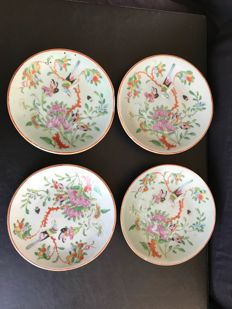 4 porcelain celedon plates - China - 19th century