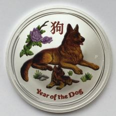 Australien - Dollar (2018) 'Year of the Dog' mit farbe - 1 oz silber