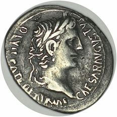 Augustus. Denarius. 7-6 B C. Obv.: Head of Augustus to right, surrounded by CAESAR AVGVSTVS DIVI. F. PATER. PATRIAE. Reverse: Gaius and Lucius standing, each with a shield.