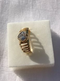 Ring in 750/1000 yellow gold with zircons - size 15