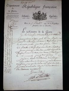 Signed autograph letter from the Marshal BERTHIER Prince of Wagram and Neuchâtel 25 May 1802 Bonaparte's Minister of war