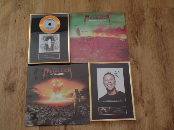 "Metallica Lot  "" so What ? "" clear vinyl LP , ""Harvesters Of Sorrow "" yellow vinyl LP , "" Death Magnetic "" framed display & James Hetfield framed display."
