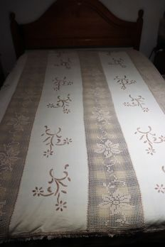 Crochet bed quilt, embroidery and linen, a private collection from Portugal
