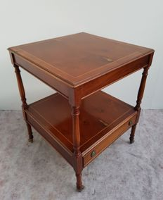 Mahogany side table with lay-ins and drawer, second half of the 20th century