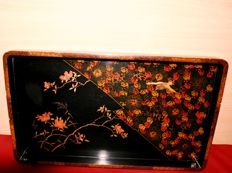 Lacquered, wooden tray with flower / bird decor