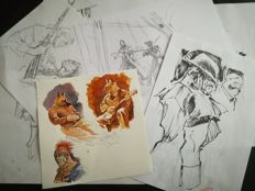 Hérenguel, Éric - 6 X Original Pencil Drawings + A Colour Drawing of Three Characters -Ulysse 1781 - (2014)