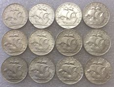 Portugal Republic – Complete Set – 12 Pieces – 2 ½ Escudos – 1932 to 1951 – Including 1937 Rare – Silver