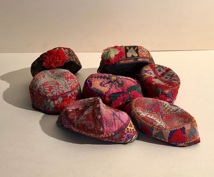 Seven men's hats from Central Asia, 2nd half of the 20th century