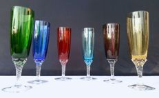 Lot of 6 chiselled cut crystal glasses in various colours, Saint Louis, France - c. 1930
